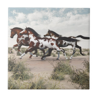 Run Like the Wind - Galloping Paint Horses Tile
