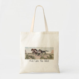 Run Like the Wind - Galloping Paint Horses Tote Budget Tote Bag