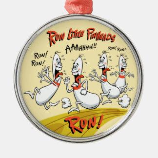 Run Little Bowling Pinheads Metal Ornament