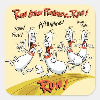 Run Little Bowling Pinheads Square Sticker