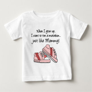 Run Marathon Just Like Mommy (Pink) Baby T-Shirt