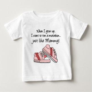 Run Marathon Just Like Mommy (Pink) Baby T-Shirt