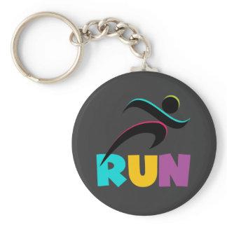 RUN Multi Basic Round Button Keychain