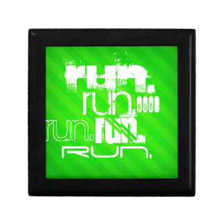 Run; Neon Green Stripes Jewelry Box