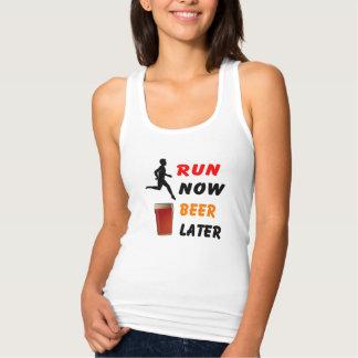 Run Now, Beer Later - Running Racerback Tank Top
