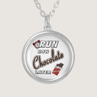 Run Now Chocolate Later Silver Plated Necklace