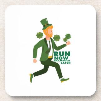 Run Now Shamrock Later St Patricks Day Funny Coaster