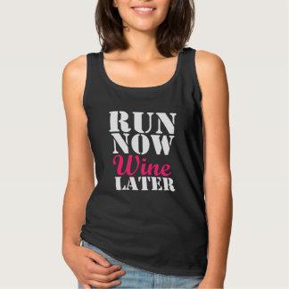 Run Now Wine Later funny runner marathon Basic Tank Top