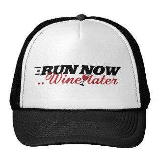 Run now wine later trucker hat