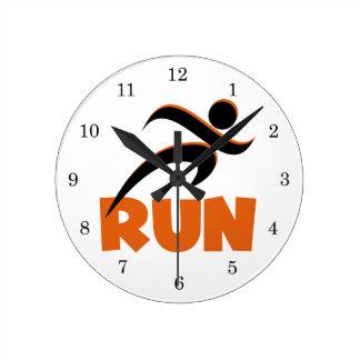 RUN Orange Round Clock