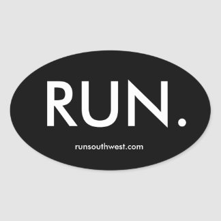 """RUN."" Oval Sticker, Glossy Oval Sticker"