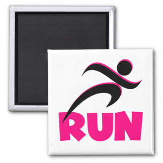 RUN Pink 2 Inch Square Magnet