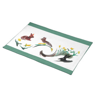 Run Rabbit Run Floral Animal Art Cloth Placemat