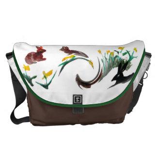 Run Rabbit Run Floral Animal Art Courier Bag