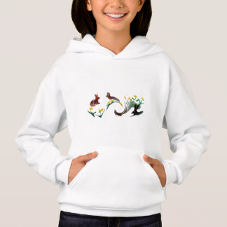 Run Rabbit Run Floral Animal Art Hoodie
