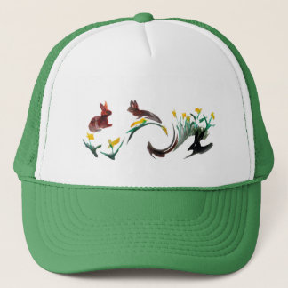 Run Rabbit Run Floral Animal Art Trucker Hat