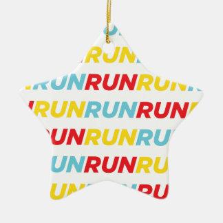 Run Run Run Double-Sided Star Ceramic Christmas Ornament