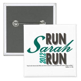 Run Sarah Run 2 Inch Square Button