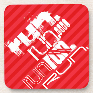 Run; Scarlet Red Stripes Drink Coaster