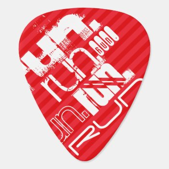 Run; Scarlet Red Stripes Guitar Pick by ColorStock at Zazzle