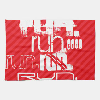 Run; Scarlet Red Stripes Hand Towel