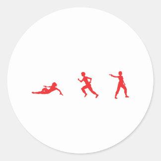 Run, Slide, Shoot Classic Round Sticker