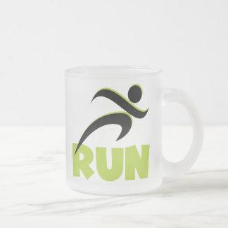 RUN Spring Green Frosted Glass Coffee Mug