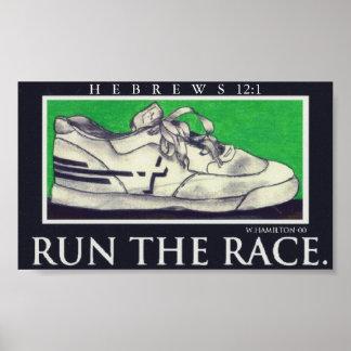 run the race cross running shoe poster