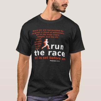 Run the Race Hebrews 12:1 dark-colored t-shirt