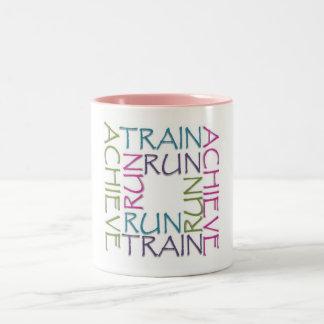 Run, train, achieve mug  - Pink