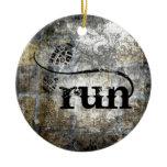 Run w/Shoe Grunge by Vetro Jewelry & Designs Ceramic Ornament