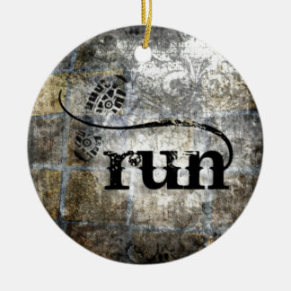 Run w/Shoe Grunge by Vetro Jewelry & Designs Ceramic Ornament