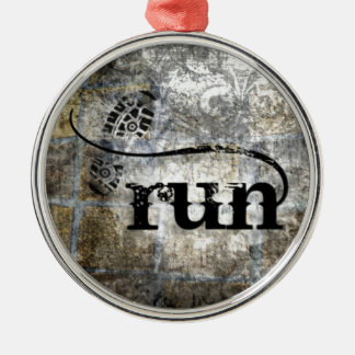 Run w/Shoe Grunge by Vetro Jewelry & Designs Metal Ornament