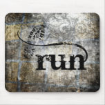Run w/Shoe Grunge by Vetro Jewelry & Designs Mouse Pad
