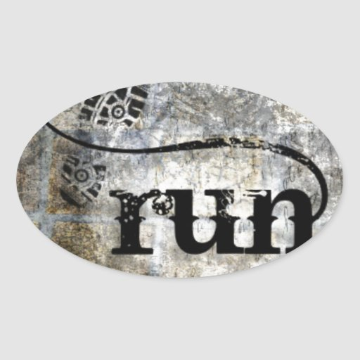 Run w/Shoe Grunge by Vetro Jewelry & Designs Oval Stickers