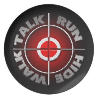 Run walk talk hide. plate
