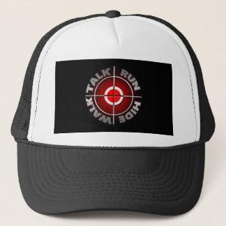 Run walk talk hide. trucker hat