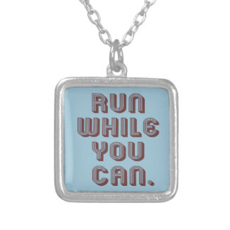Run While You Can Square Pendant Necklace