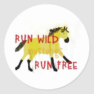 RUN WILD MUSTANGS- Whimsical Horse Collection Classic Round Sticker