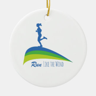 Run Wind Double-Sided Ceramic Round Christmas Ornament