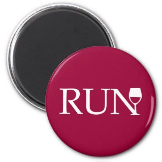 Run wine glass fridge magnets