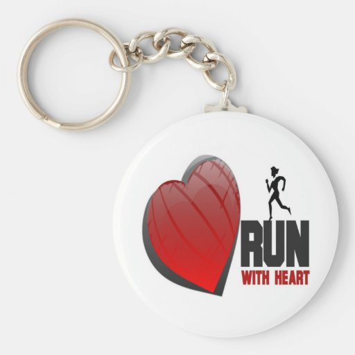 RUN WITH HEART PRODUCTS BASIC ROUND BUTTON KEYCHAIN