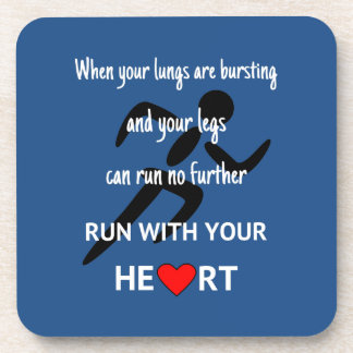 Run with heart sports motivation drink coaster
