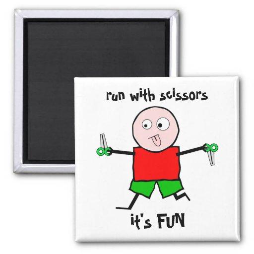 Run with scissors 2 inch square magnet