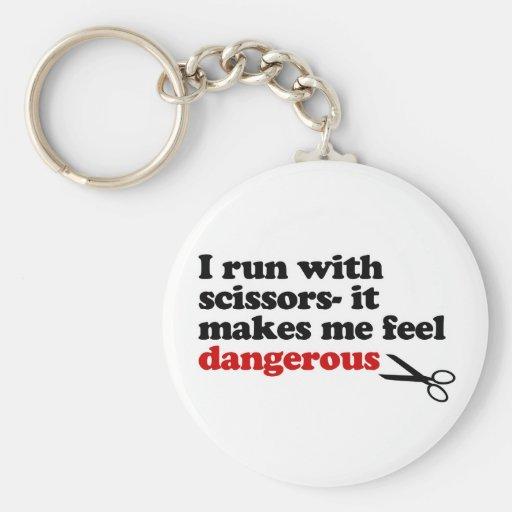 Run with Scissors Basic Round Button Keychain