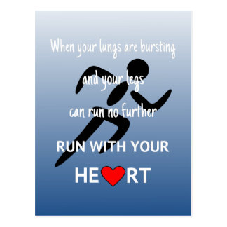 Run with your heart motivational sports postcard