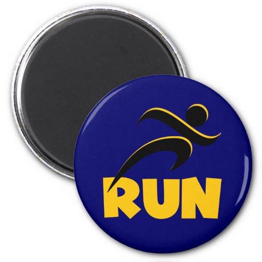 RUN Yellow Fridge Magnet