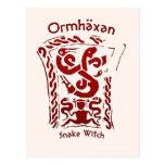 Runa de la bruja de la serpiente de Ormhäxan Tarjetas Postales