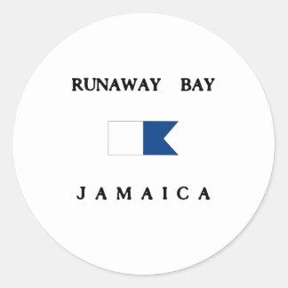 Runaway Bay Jamaica Alpha Dive Flag Classic Round Sticker