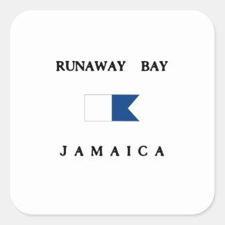 Runaway Bay Jamaica Alpha Dive Flag Square Sticker